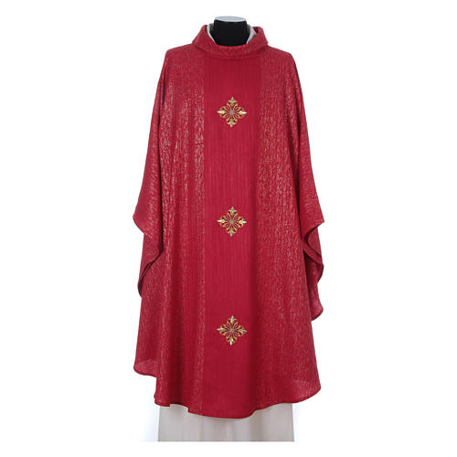 Chasuble 85% wool 15% lurex embroidered with three crosses 10