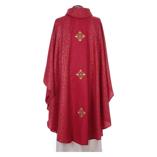 Chasuble 85% wool 15% lurex embroidered with three crosses 11