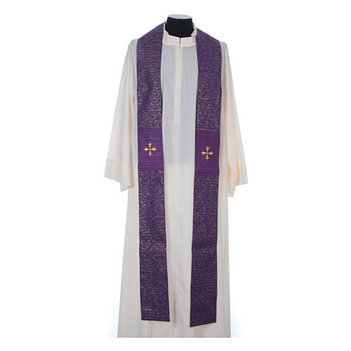 Chasuble 85% wool 15% lurex embroidered with three crosses 15