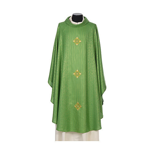 Chasuble 85% wool 15% lurex embroidered with three crosses 3