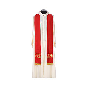 Chasuble 100% wool textured fabric with decorated neckline and gallon s8