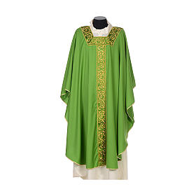 Catholic Chasuble 100% wool textured fabric with decorated neckline and gallon s3