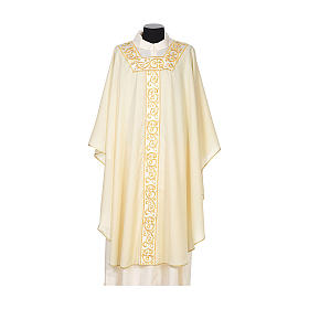 Catholic Chasuble 100% wool textured fabric with decorated neckline and gallon s5