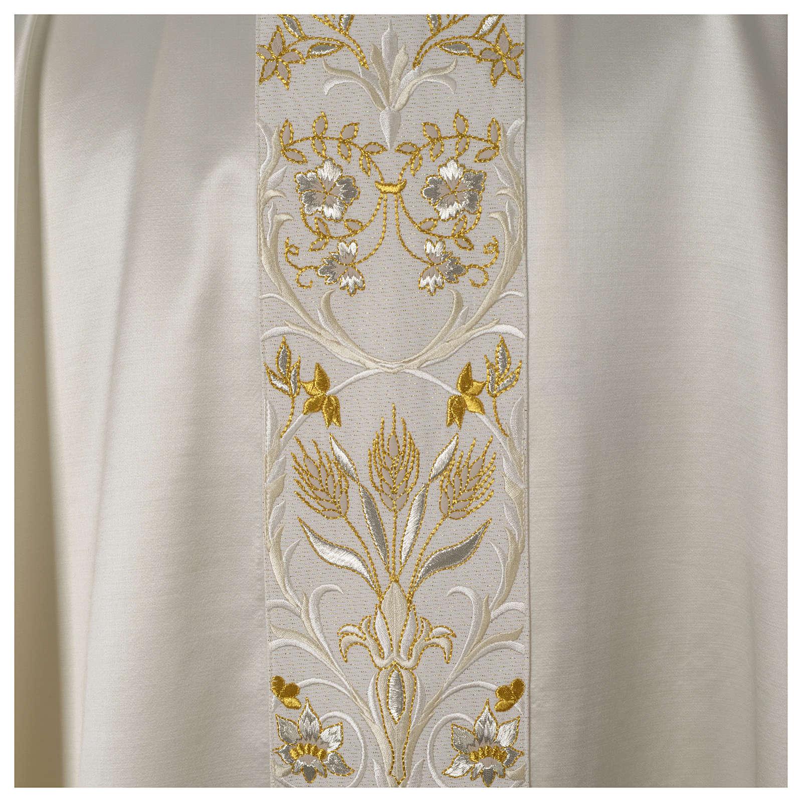 Casula ricamata a macchina lana seta lurex fiori 4