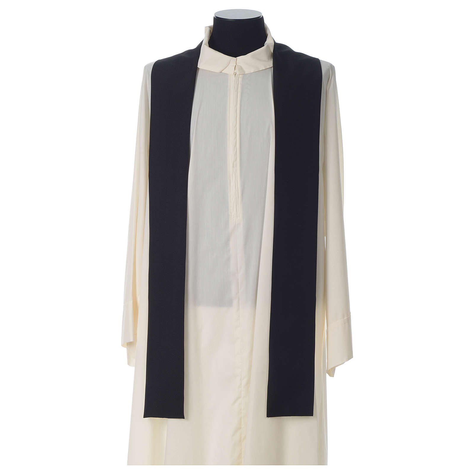 Chasuble in polyester Chi-Rho bread and fish, black 4