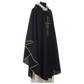 Chasuble in polyester Chi-Rho bread and fish, black s4