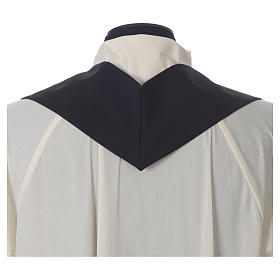 Chasuble in polyester Chi-Rho bread and fish, black s7