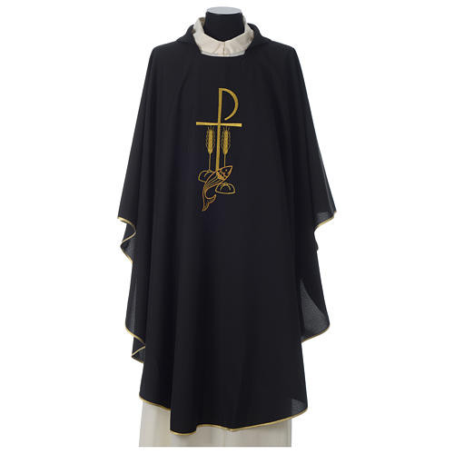 Chasuble in polyester Chi-Rho bread and fish, black 1