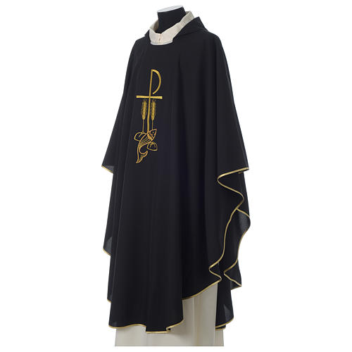 Chasuble in polyester Chi-Rho bread and fish, black 3