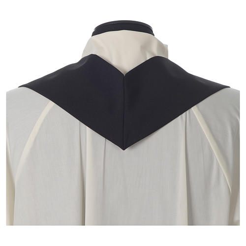 Chasuble in polyester Chi-Rho bread and fish, black 7