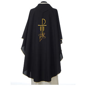 Black Chasuble with Chi-Rho bread and fish in polyester s5