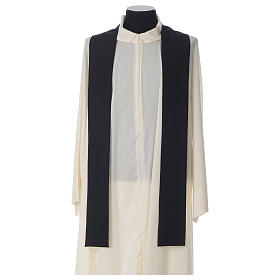 Black Chasuble with Chi-Rho bread and fish in polyester s6