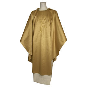Chasuble 80% wool 20% lurex wheat lantern and thin cross satin s1