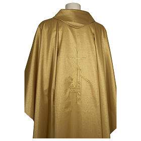 Chasuble 80% wool 20% lurex wheat lantern and thin cross satin s2