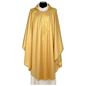 Chasuble 80% wool 20% lurex wheat lantern and thin cross satin s3