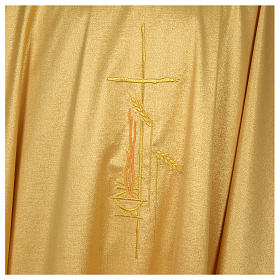 Chasuble 80% wool 20% lurex wheat lantern and thin cross satin s4