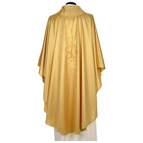 Chasuble 80% wool 20% lurex wheat lantern and thin cross satin s5