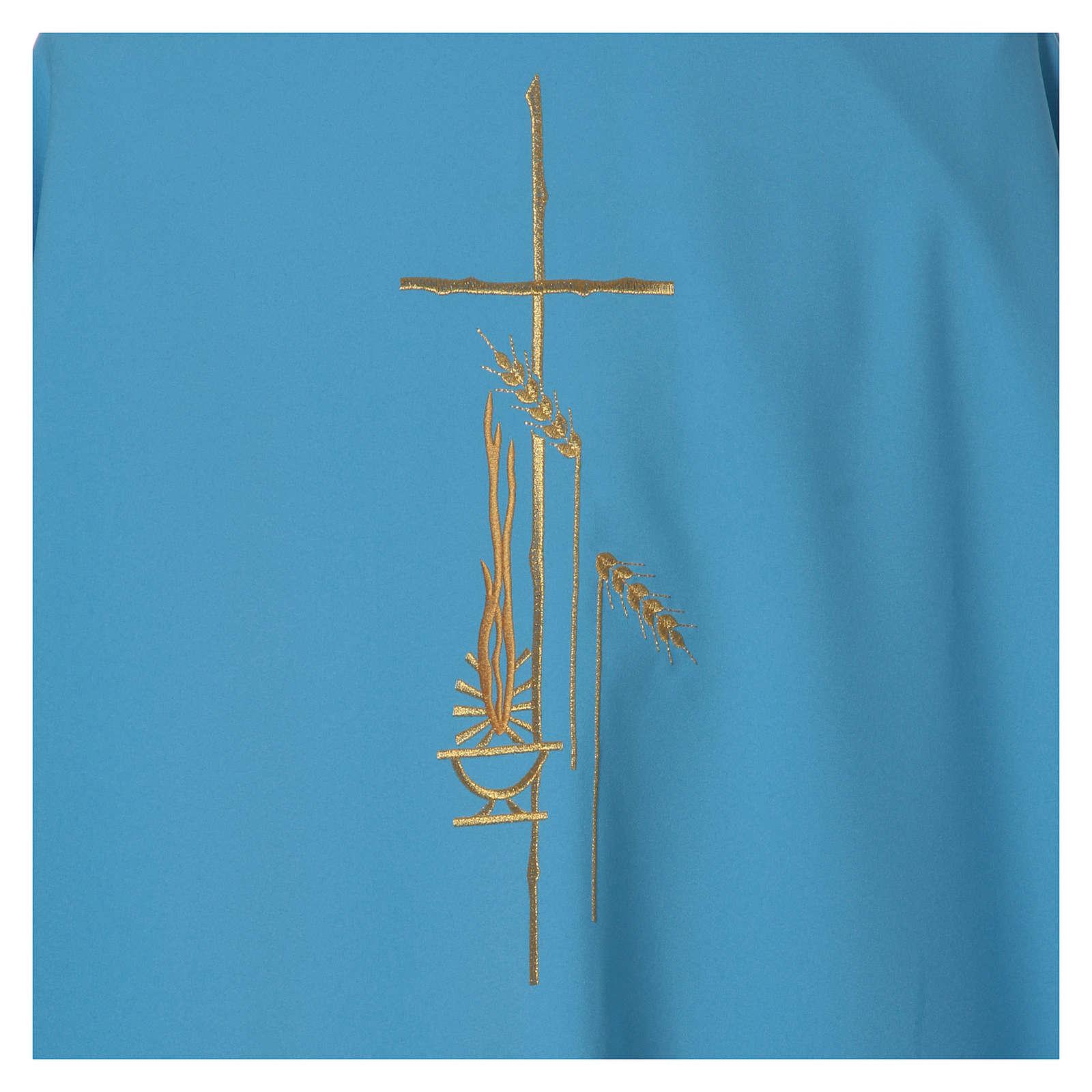 Casulla celeste poliéster cruz 4