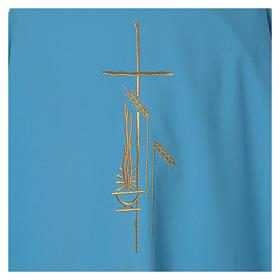 Casulla celeste poliéster cruz s4
