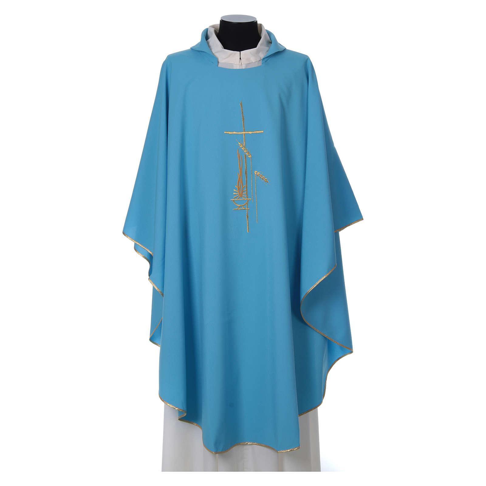Chasuble bleu clair polyester croix fine épis lanterne 4