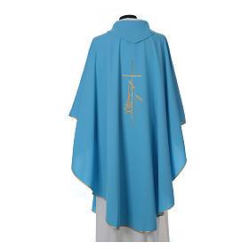 Chasuble bleu clair polyester croix fine épis lanterne s2
