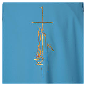 Chasuble bleu clair polyester croix fine épis lanterne s4
