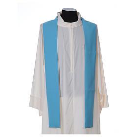 Chasuble bleu clair polyester croix fine épis lanterne s5