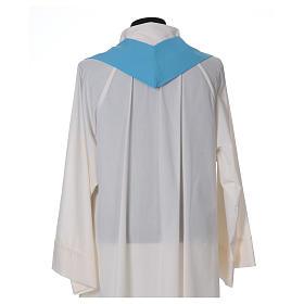 Chasuble bleu clair polyester croix fine épis lanterne s6