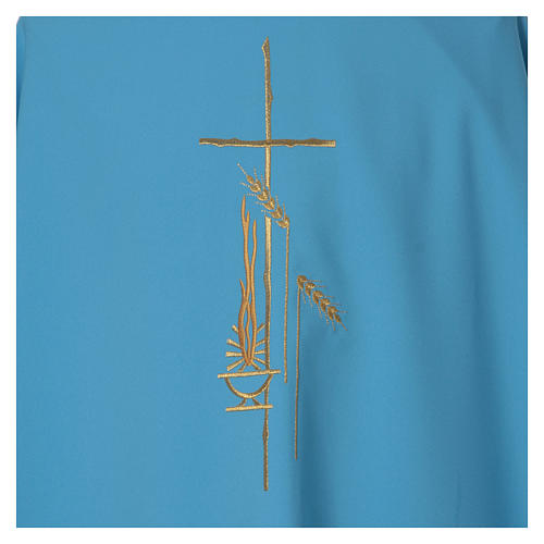 Casula azzurra poliestere croce sottile spighe lanterna 4