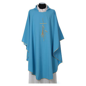 Light Blue Liturgical Chasuble with wheat lantern and thin cross in polyester s1