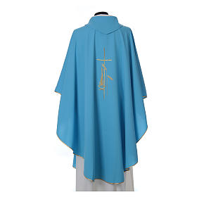 Light Blue Liturgical Chasuble with wheat lantern and thin cross in polyester s2