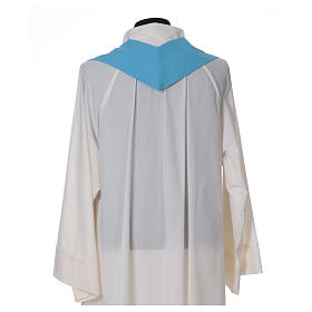 Light Blue Liturgical Chasuble with wheat lantern and thin cross in polyester s6