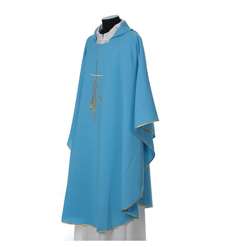 Light Blue Liturgical Chasuble with wheat lantern and thin cross in polyester 3