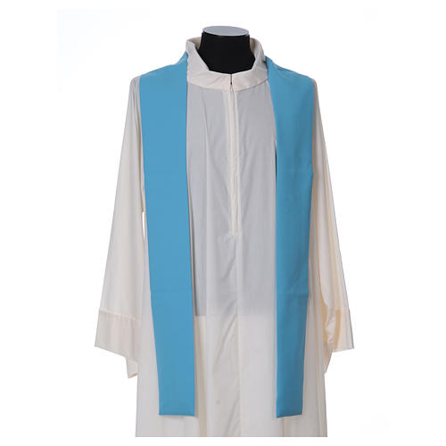 Light Blue Liturgical Chasuble with wheat lantern and thin cross in polyester 5