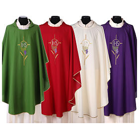 Chasuble with flower decorations, 100% polyester s1