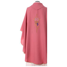 Chasuble in polyester flower decoration, rose s4