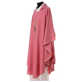 Casulla 100% poliéster decoraciones florales rosa s3