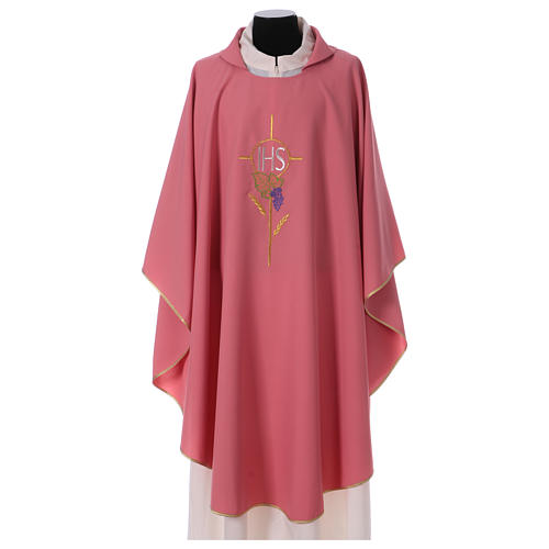 Rose IHS Chasuble with wheat decoration in polyester 1