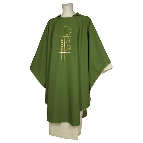 Casula sacerdotale 100% poliestere croce spighe alfa 1