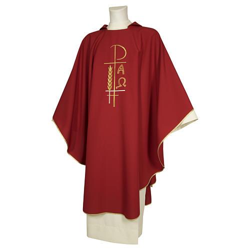 Casula sacerdotale 100% poliestere croce spighe alfa 2