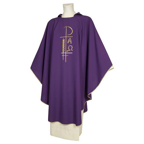 Casula sacerdotale 100% poliestere croce spighe alfa 4