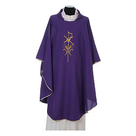 Chasuble in polyester cross wheat and grapes s6