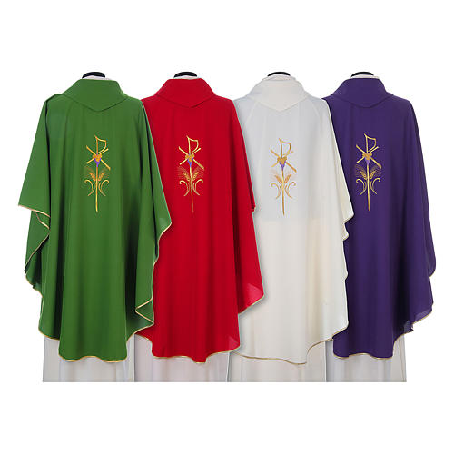 Chasuble in polyester cross wheat and grapes 2