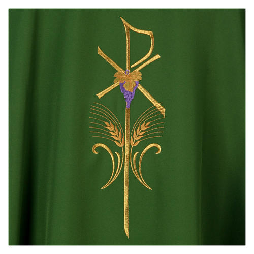 Chasuble in polyester cross wheat and grapes 7