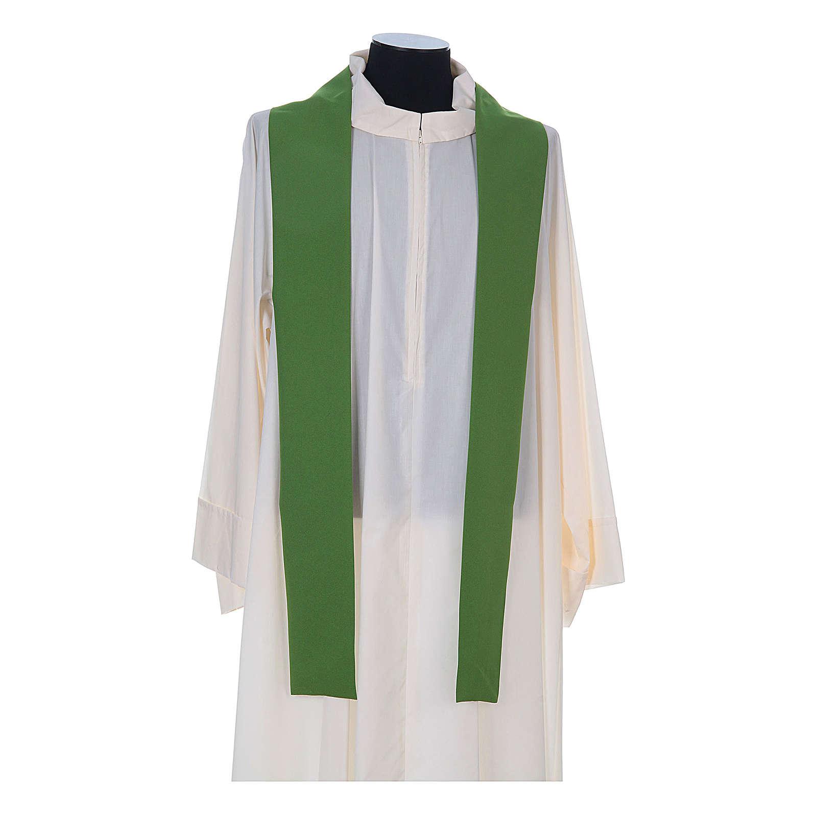 Casula litúrgica 100% poliéster com trigo cruz e uva 4