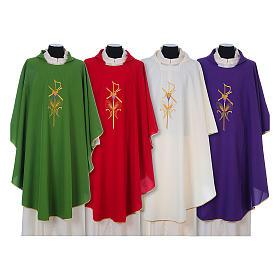 Casula litúrgica 100% poliéster com trigo cruz e uva s1