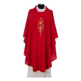 Casula litúrgica 100% poliéster com trigo cruz e uva s4