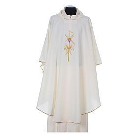 Casula litúrgica 100% poliéster com trigo cruz e uva s5