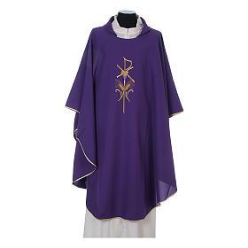 Casula litúrgica 100% poliéster com trigo cruz e uva s6