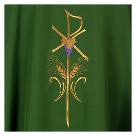 Casula litúrgica 100% poliéster com trigo cruz e uva s7